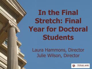 In the Final Stretch: Final Year for Doctoral Students