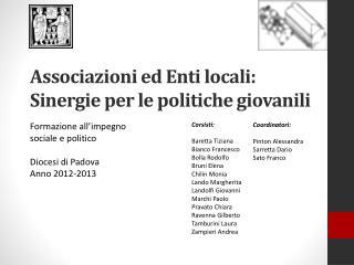 Associazioni ed Enti locali: Sinergie per le politiche giovanili