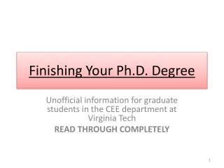 Finishing Your Ph.D. Degree