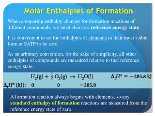 Molar Enthalpies of Formation