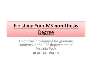 Finishing Your MS  non-thesis  Degree