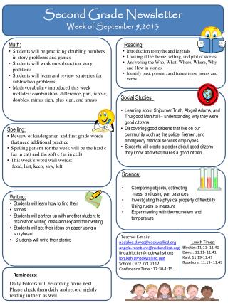 Second Grade Newsletter Week of September 9,2013