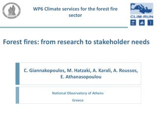 Forest  fires: from research to stakeholder needs