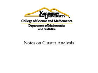 Notes on Cluster Analysis