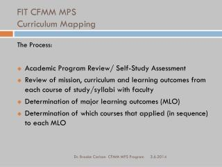 FIT CFMM MPS Curriculum Mapping