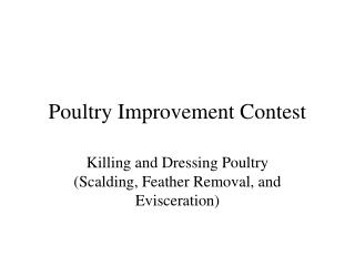 Poultry Improvement Contest