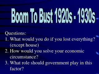 Boom To Bust 1920s - 1930s