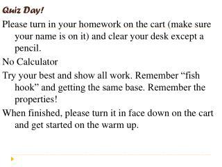 Quiz Day!