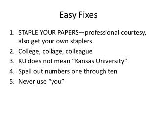 Easy Fixes