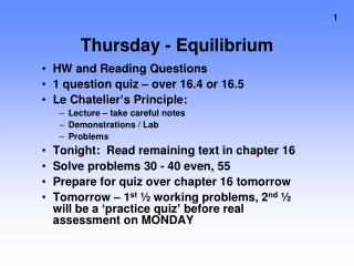 Thursday - Equilibrium