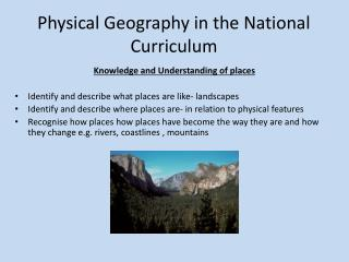 Physical Geography in the National Curriculum