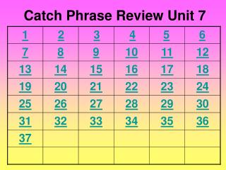 Catch Phrase Review Unit 7