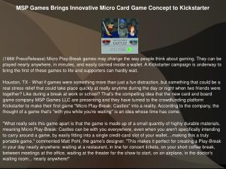 MSP Games Brings Innovative Micro Card Game Concept to Kicks