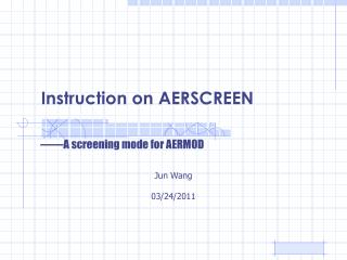 Instruction on AERSCREEN