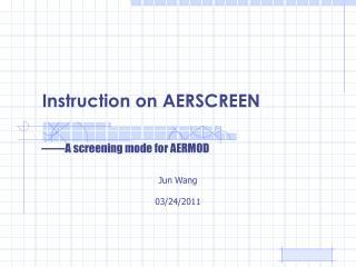 Instruction on AERSCREEN