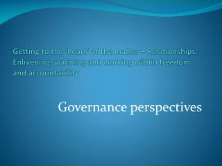 Governance perspectives