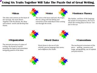 Using Six Traits Together Will Take The Puzzle Out  o f Great Writing.