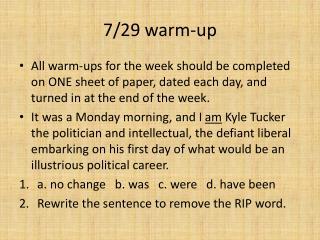 7/29 warm-up