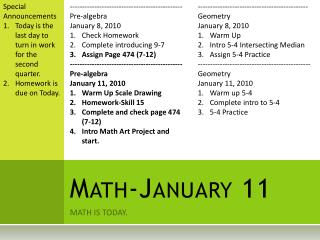 Math-January  11