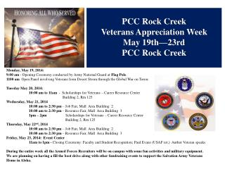 PCC Rock Creek Veterans Appreciation Week May 19th—23rd PCC Rock Creek