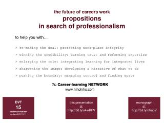 the future of careers work propositions  in search of professionalism