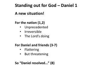 A new situation! For the nation (1,2) Unprecedented 	Irreversible The Lord's doing