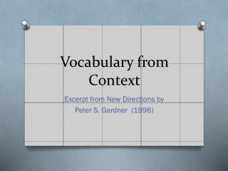 Vocabulary from Context