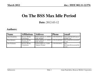 On The BSS  Max Idle Period
