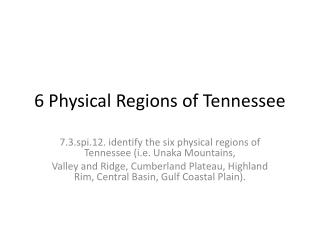 6 Physical Regions of Tennessee