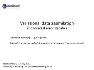 Variational  data assimilation and forecast error statistics