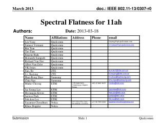 Spectral Flatness for  11ah