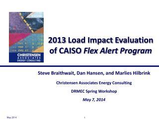 2013  Load Impact  Evaluation of CAISO  Flex Alert Program