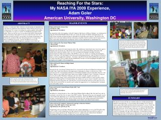 Reaching For the Stars:  My NASA IYA 2009 Experience, Adam Goler