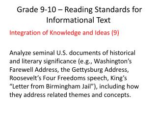 Grade 9-10 – Reading Standards for Informational Text