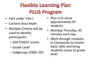 Flexible Learning Plan PLUS Program