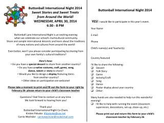 Buttonball International Night 2014 Sweet Stories and Sweet Treats from Around the World!