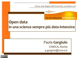 Open data in una scienza sempre più data-intensive