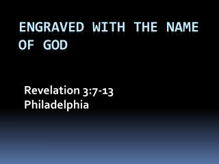 Engraved With the Name of God