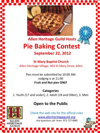 Allen Heritage Guild Hosts  Pie Baking Contest  September 22, 2012