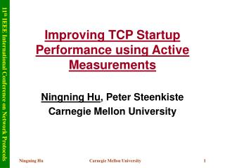 Improving TCP Startup Performance using Active Measurements