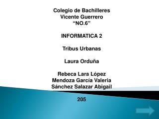 """Colegio de Bachilleres Vicente Guerrero """"NO.6"""" INFORMATICA 2 Tribus Urbanas Laura Orduña"""