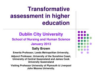 Transformative assessment in higher education