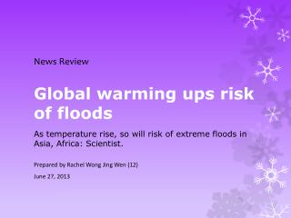 Global warming ups risk of floods