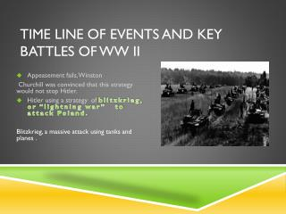 Time Line of Events and Key Battles of WW II