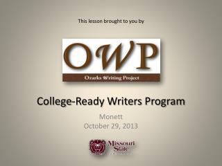 College-Ready Writers Program