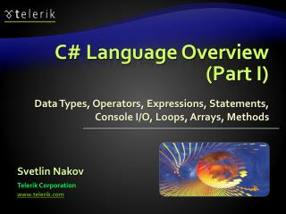 C# Language Overview (Part I)