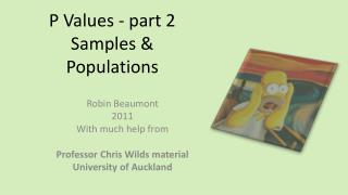P  Values - part 2 Samples & Populations