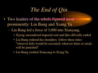 The End of Qin