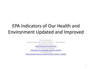EPA Indicators of Our Health and Environment Updated and Improved