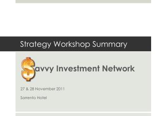 Strategy Workshop Summary